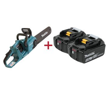 2 аккумулятора в подарок при покупке аккумуляторных цепных пил Makita