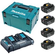 Аккумуляторы 4 шт. BL1860B + зу DC18RD+ Makpac Makita 198094-8 (18 В, 6.0 Ач, Li-ion)