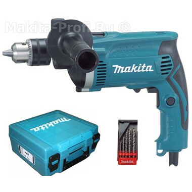 Дрель ударная Makita HP1630KX1 (в кейсе + набор сверл) фото
